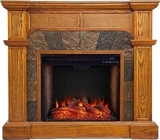 Southern Enterprises Cartwright Corner Convertible Alexa-Enabled Smart Fireplace with Faux Stone Surround, Oak