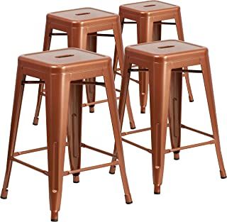 Flash Furniture 4 Pk. 24'' High Backless Copper Indoor-Outdoor Counter Height Stool