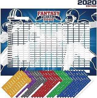 Joyousa Fantasy Football Draft Board 2020 Kit with Player Labels - Premium Color Set