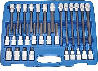 SW-Stahl 04923L Schraubgarnitur, 12,5 mm 1/2 Zoll Antrieb, 5-19 mm, 30-teilig, Innensechskant, aus Chrom-Vanadium S2-Sonderstahl