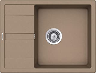 SCHOCK kompakte Küchenspüle 65 x 50 cm Manhattan D-100 Cascada - CRISTALITE dunkelbeige Granitspüle mit verkürzter Abtropffläche ab 50 cm Unterschrank-Breite
