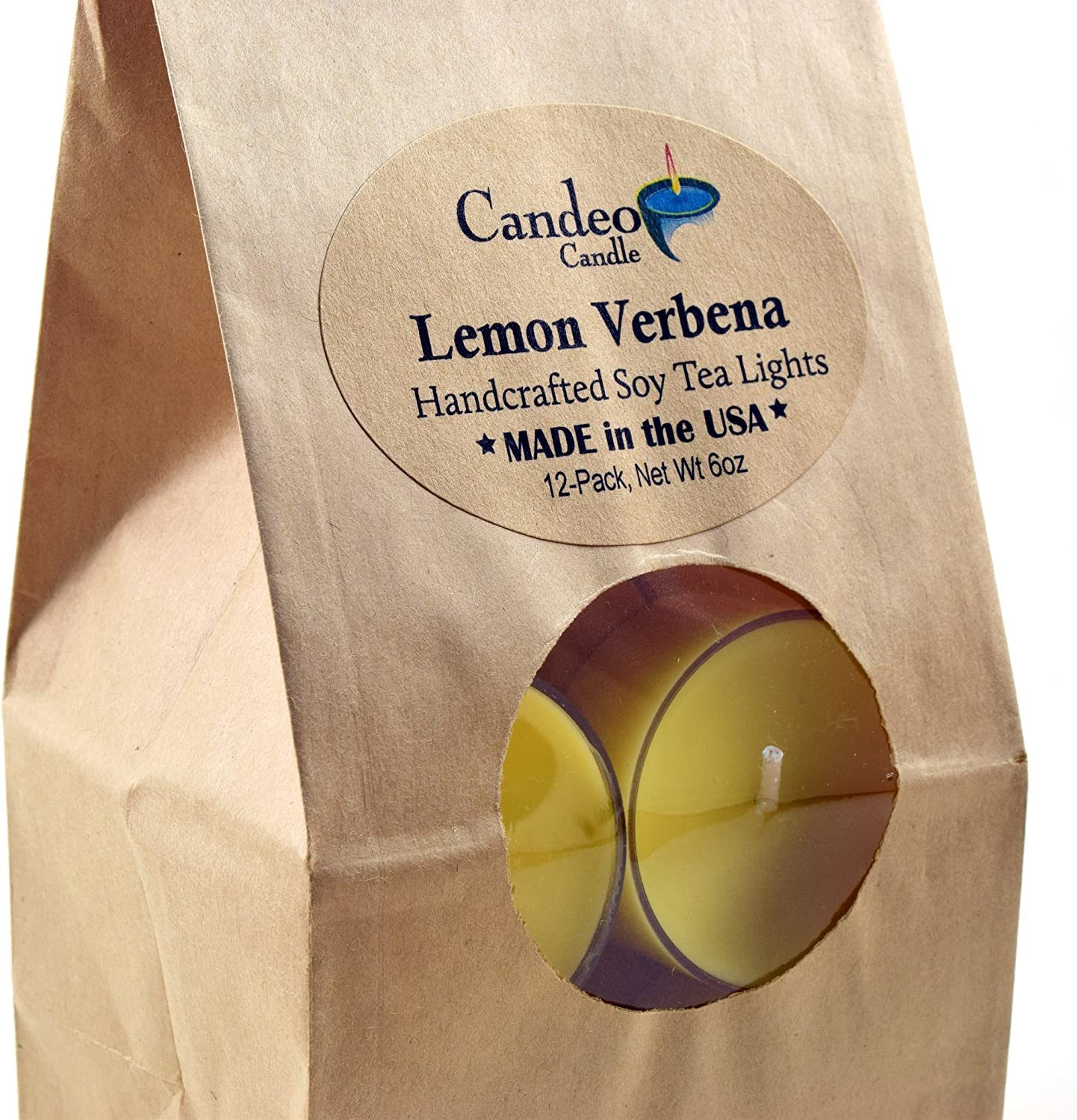 Regular discount Lemon Max 61% OFF Verbena Scented Soy Tealights Clear Candles Pack 12 Cup