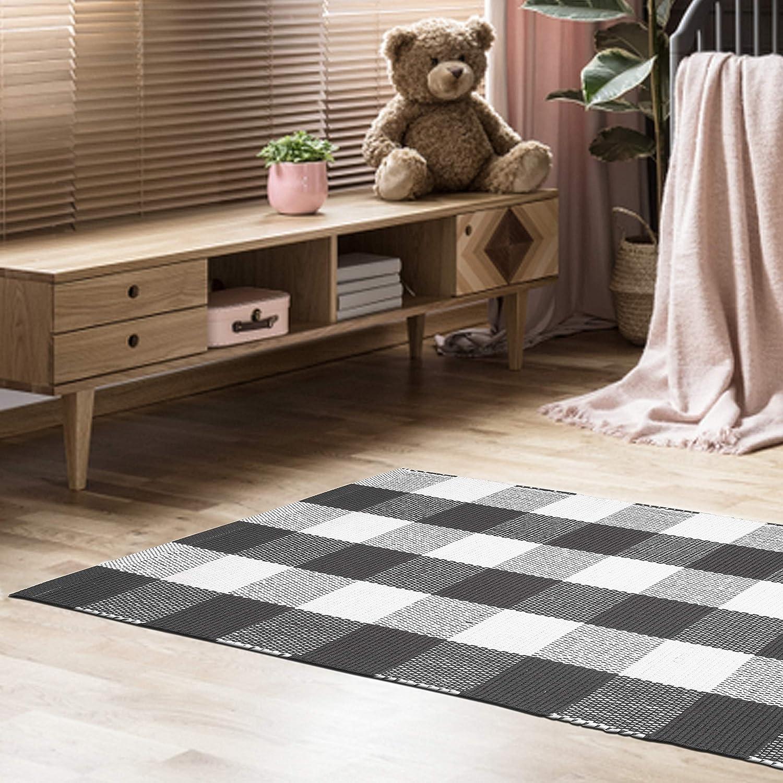 Buffalo Check Cotton Rug 21x34 - Buffalo Checkered Rug 100% Cotton for Kitchen Entryway Living Room - Charcoal-White