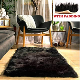 Fluffy Faux Black Fur Rug with Soft Thick Padding and Anti Slip Backing (5 x 2.3 feet), Plush Fuzzy Bedside Area Black Rugs for Bedroom Rug, Furry Black Area shag Rug Black Carpet by shuna creations