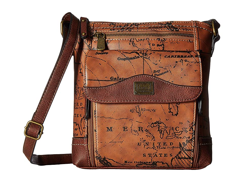 b.o.c. Voyage Waltham Organiz Crossbody (Dark Saddle/Chocolate) Cross Body Handbags, Brown