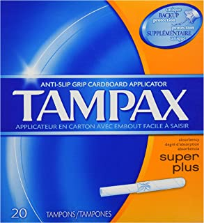 Tampax Cardboard Applicator, Super Plus Absorbency Tampons, 20 Count