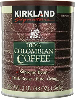 Signature Kirkland 100% Colombian Coffee, Supremo Bean Dark Roast-Fine Grind, 3 Pound