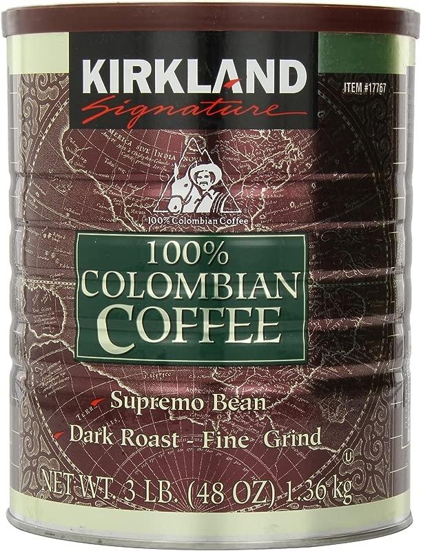 Signature Kirkland 100 Colombian Coffee Supremo Bean Dark Roast Fine Grind 3 Pound