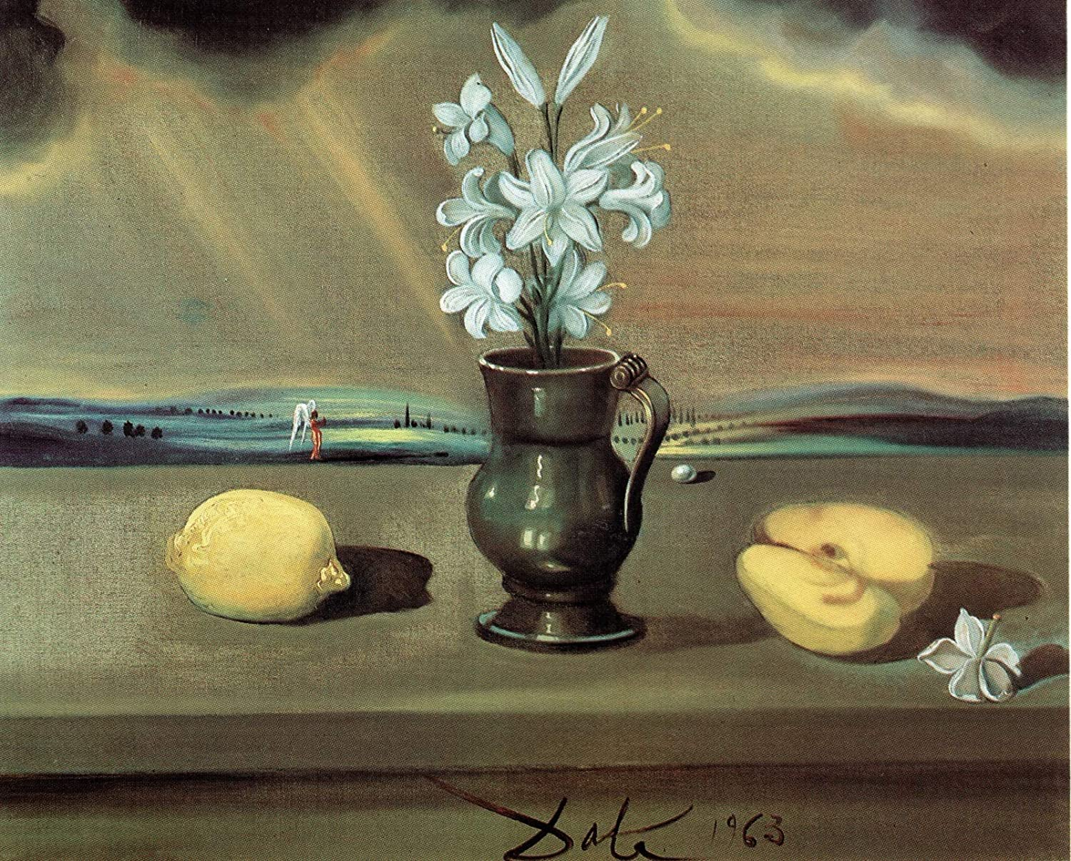 Black Creations Untitled(still life with Lilies) Salvador Dali 1963 Poster Canvas Picture Art Print Premium Quality A0 A1 A2 A3 A4 (A0 Canvas (30 40))