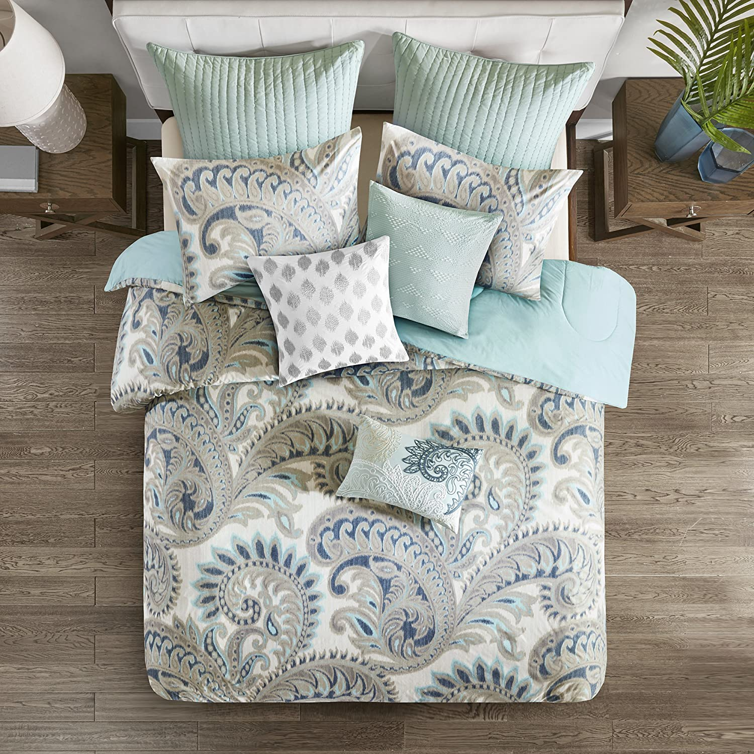 Ink+Ivy Mira Price reduction Duvet Cover King Size sale - Teal Paisley