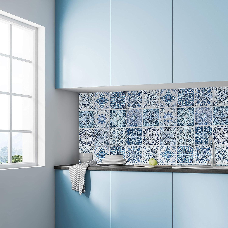 pintura de azulejos y azulejos color azul para cocina WALPLUS 24 pegatinas para azulejos de 15 cm color turco mediterr/áneo adhesivo de vinilo para decoraci/ón del hogar ba/ño