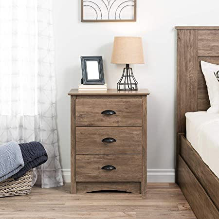 Prepac Salt Spring 3-Drawer Tall Nightstand, Drifted Gray