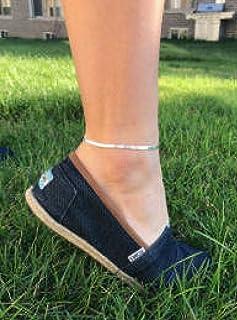 Kyperco Sterling Silver Adjustable Handmade Bracelet With Herring Bone Design Anklet For Women