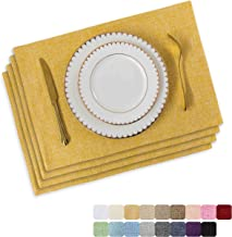 Home Brilliant Placemats Set of 4 Heat Resistant Dining Table Place Mats for Kitchen Table, 13 x 19 inches, Yellow