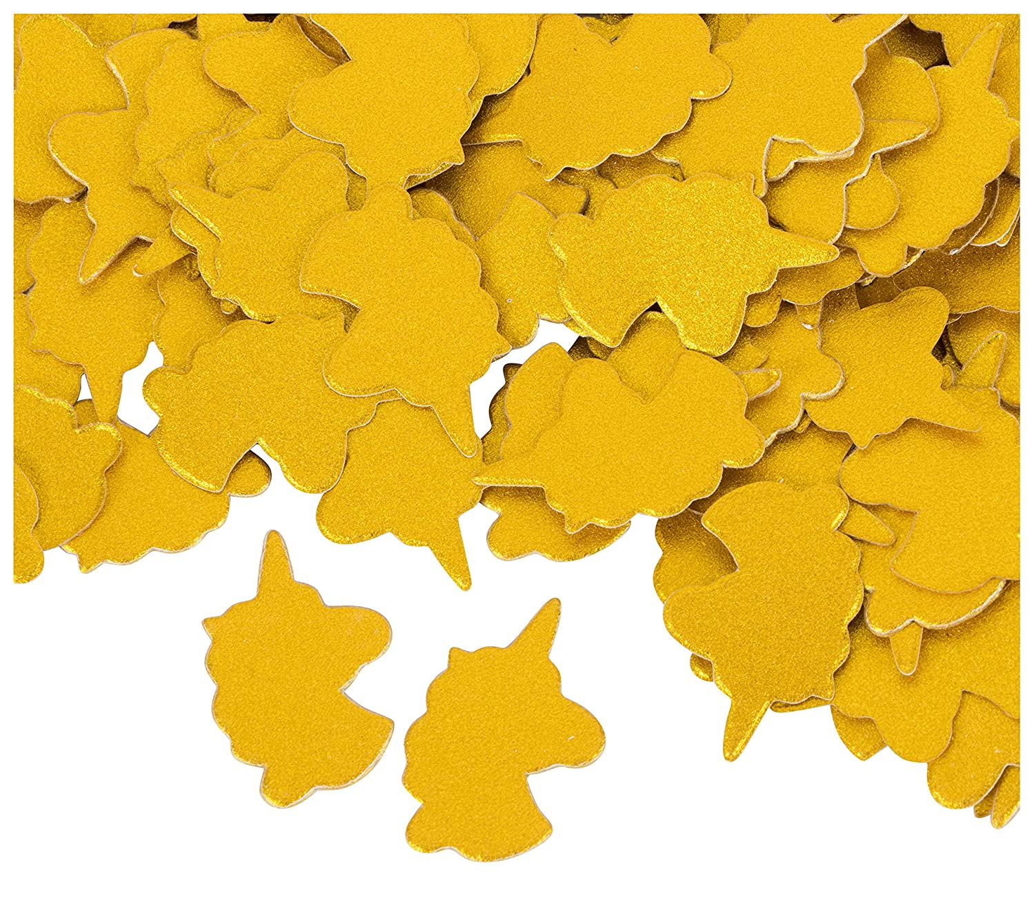 Unicorn Confetti - 1000-Pack Gold Unicorn Cutouts, Paper Party Confetti, Party Supplies, Table Scatter, for Bachelorette, Wedding, Princess Themed Birthday Parties, Bridal Showers, 1 x 1.3 Inches