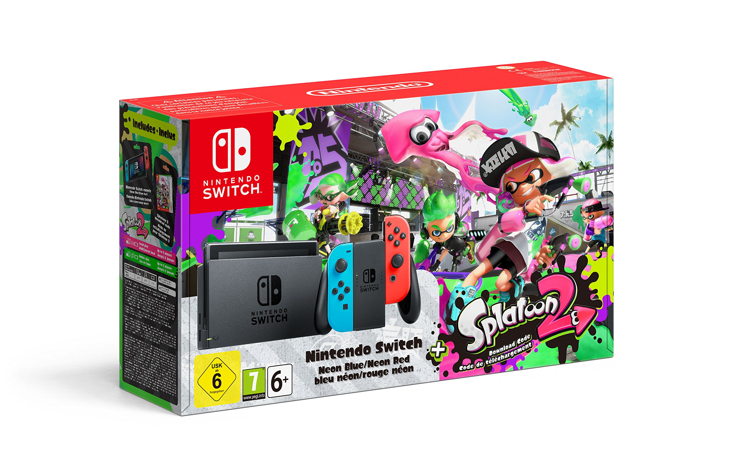 Amazon.es: Nintendo Switch 32GB Neon Red Blue Console Splatoon 2 Bundle [Importación inglesa]