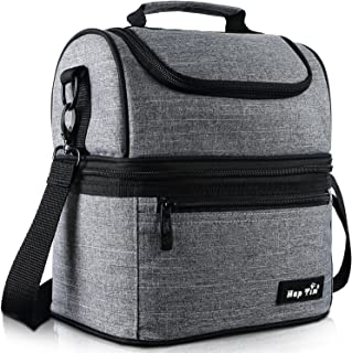 Hap Tim Lunch Box Insulated Lunch Bag Medium Size Cooler Tote Bag for Adult,Men,Women, Double Deck Cooler for Office/Picnic/Travel/Camping(16040-G)