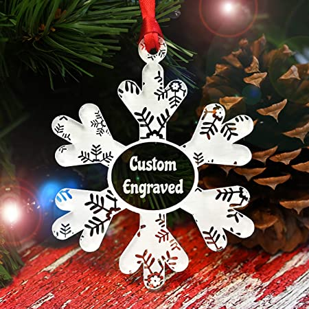 Personalized Swirl Pattern Custom Engraved Family Holiday Decorations Made in The USA Customized Christmas Tree Ornament 2018