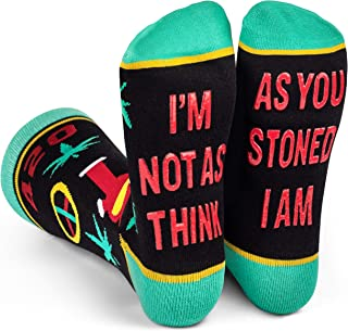 420 Marijuana Weed Socks - Colorful Pot Leaf, Joints, Bong, and Peace Sign Knit Cotton Design - Funny Stoner Gift Clothing - Crew Length Unisex - by Lavley