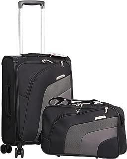 """Aerolite 21"""" Carry On Ultra Lightweight Spinner Suitcase & Flight Bag Under Seat Shoulder Bag Set (Black)"""