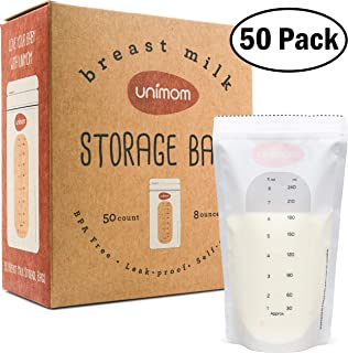 Unimom 50 Breastmilk Storage Bags - 8oz – Zip-Top Leak Proof Closure - Self Standing, BPA Free, Pre Sterilized - Graduated Measurement Markings – Easy Tear for Pouring