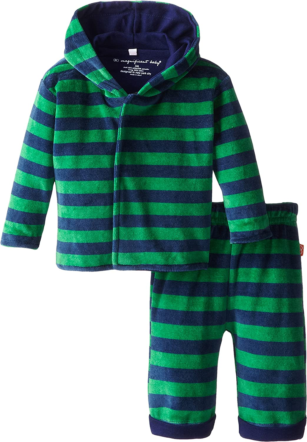 Magnificent Baby Baby Boys' Green Navy Velour Hoodie and Pants