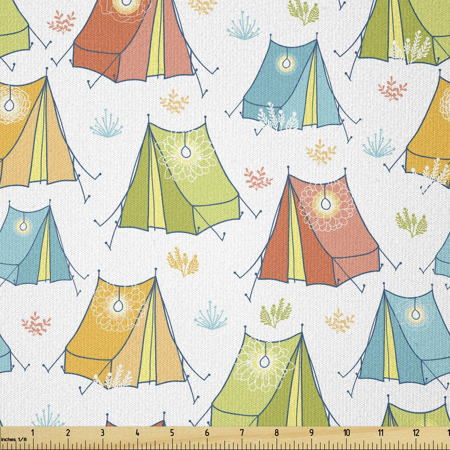 Ambesonne Camping Fabric Max 59% OFF by The Finally resale start Yard Illustration Continuous of
