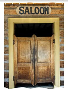 Ambesonne Western Stall Shower Curtain, Saloon Doors of Old Western Building in Montana Ghost Town Print, Fabric Bathroom Decor Set with Hooks, 54