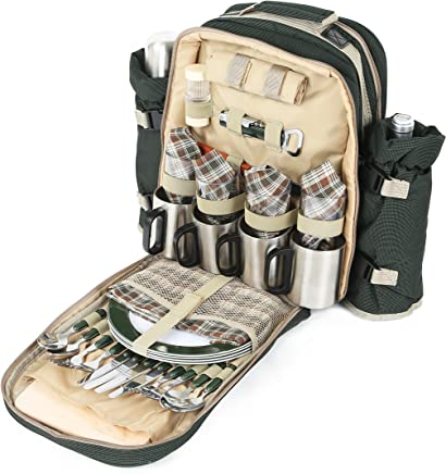 b6f665562 Greenfield Collection Super Deluxe - Mochila de Picnic para Cuatro  Personas, Color Verde Bosque