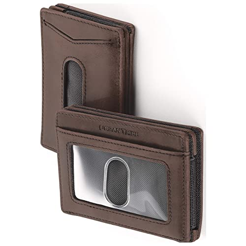 33a6193b81c31 Compact RFID Card Sleeve Wallet Premium Leather Money Clip Card Holder for  Up to 10 Cards