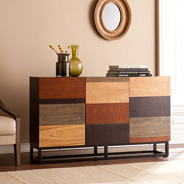 哈里森控制台书柜三柜 W 线管理多色色调完成