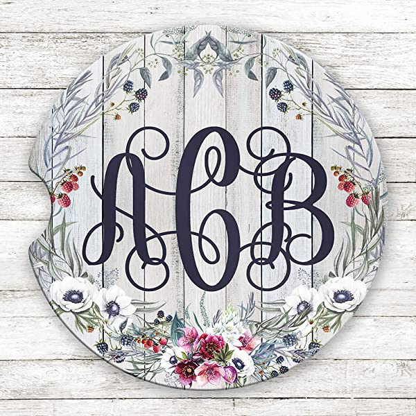 Personalized Monogram Sandstone Car Coasters Blue And Pink Floral Grey Wood Set Of 2