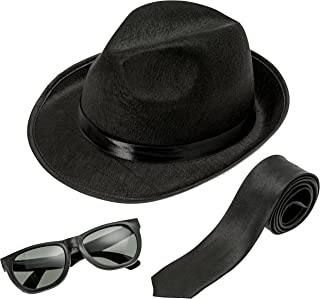 Fedora Gangster Hat, Black Pinched Hat Costume Accessory + White Band