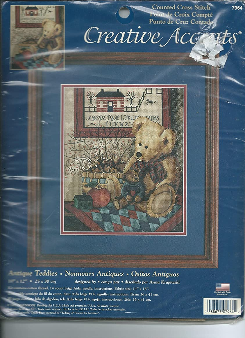 Creative Accents Antique Teddies Counted Cross Stitch Kit