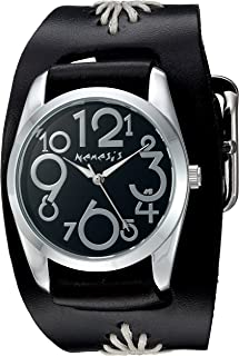 Nemesis Women's 'Showgirl Series' Quartz Stainless Steel and Leather  Watch, Color:Black (Model: BF109K)