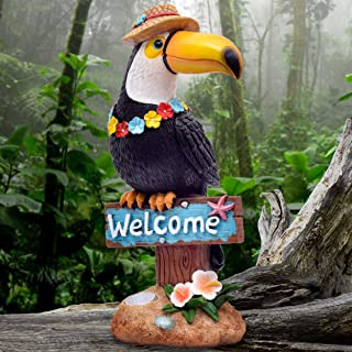 TERESA'S COLLECTIONS 10.2 Inch Toucan Welcome Sign Garden Statue,Solar Powered Garden Lights for Outdoor Patio Yard Decorations