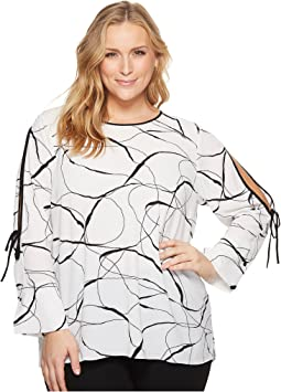 Vince Camuto Specialty Size - Plus Size Flutter Cuff Split Sleeve Ink Swirl Blouse
