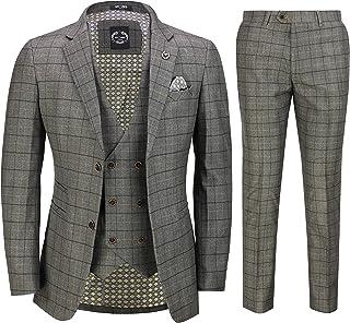 Mens 3 Piece Blue Check Suit Retro Vintage Smart Tailored Fit Classic Formal