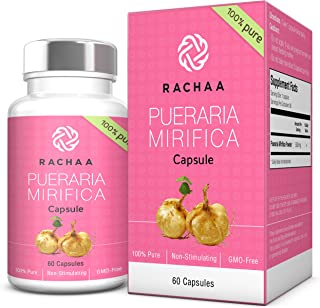 Pueraria Mirifica Capsules 500mg - 100% Pure Powder - Natural Breast And Body Tissue Firming & Enlargement - Menopause Relief - Vaginal Health 60 Capsules Bottle
