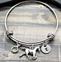 Horse Bracelet - Horse Jewelry - Horse Gifts for Women - Personalized Birthstone & Initial