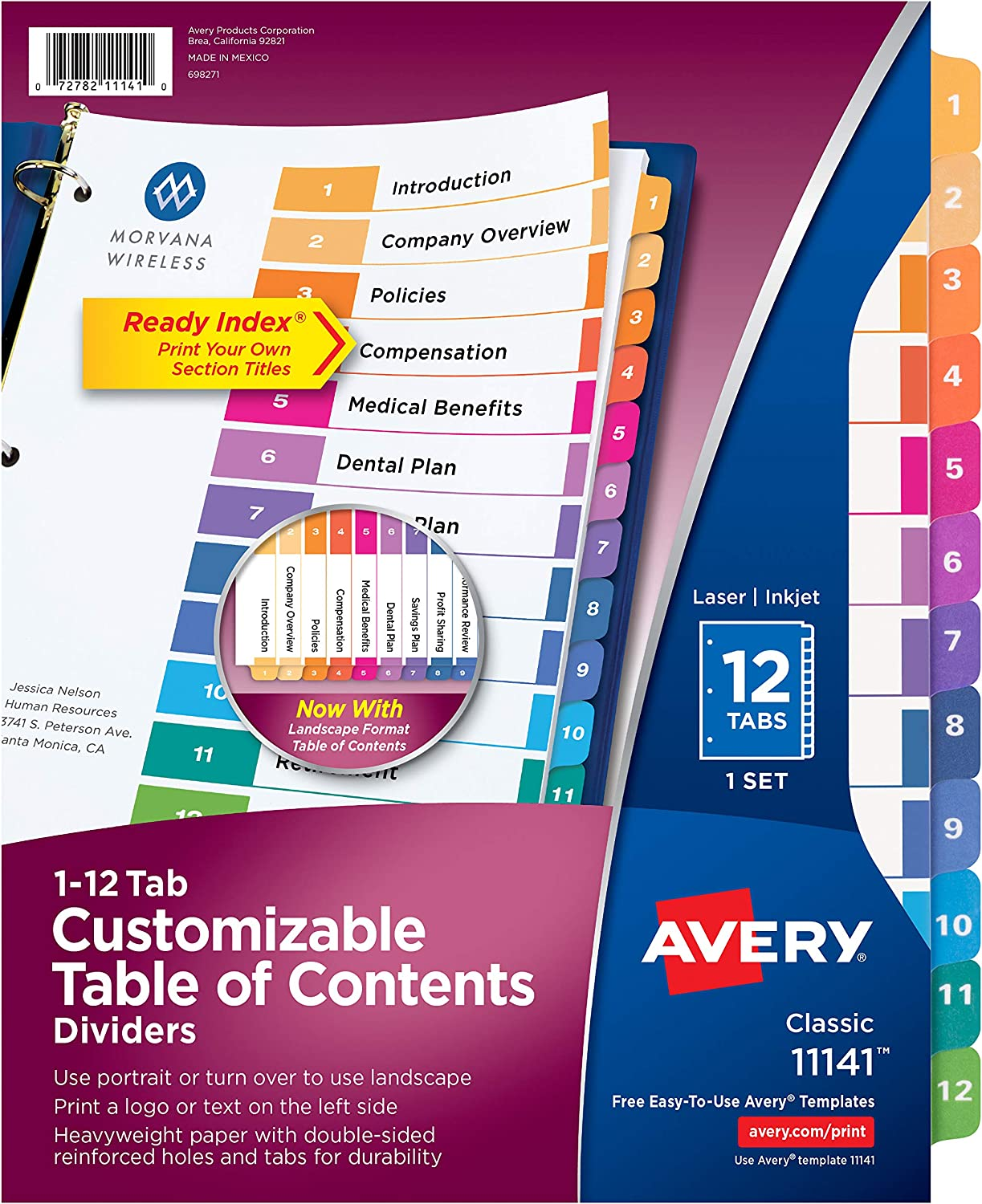 Avery 12-Tab Dividers for 3 Ring Binders, Customizable Table of Contents, Multicolor Tabs, 1 Set (11141)