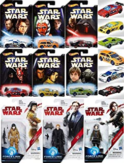 Teal Series Star Wars Force Link Hot Wheels Master & Apprentice Exclusive Set Pack 6 Cars & Figures / Jyn / Rose / General Hux + Die Cast Darth Maul / Skywalker / Yoda / Kylo Ren + Battle Play Action