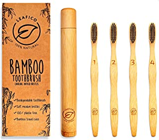 Bamboo Toothbrush with Travel Case - Biodegradable - Eco and Vegan, Charcoal Infused Soft Bristles for Natural Teeth Whitening - Dental Care for Men Women Kids, 4-Pack, Zero Waste Gift by Leafico