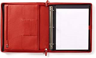Leatherology Scarlet Padfolio & 3-Ring Binder with Interior Zippered Pocket for Tablet
