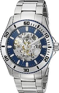 Stuhrling Original Men's 773.02 Aquadiver Antilles Stainless Steel and Blue Skeleton Dial Watch