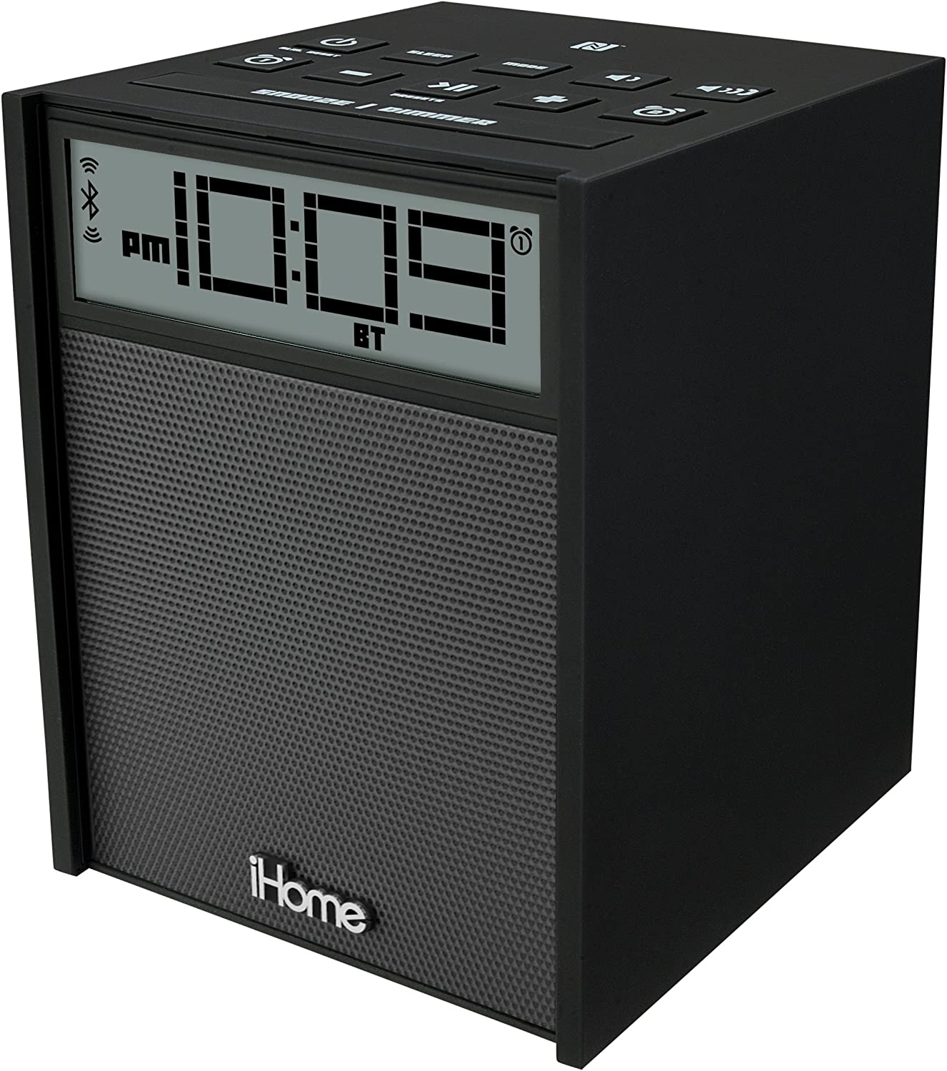Sound Design iHome IBN180B Rubberized NFC blueetooth Dual Alarm FM Clock Radio with USB Charging Aux-In, Black (Discontinued by Manufacturer)