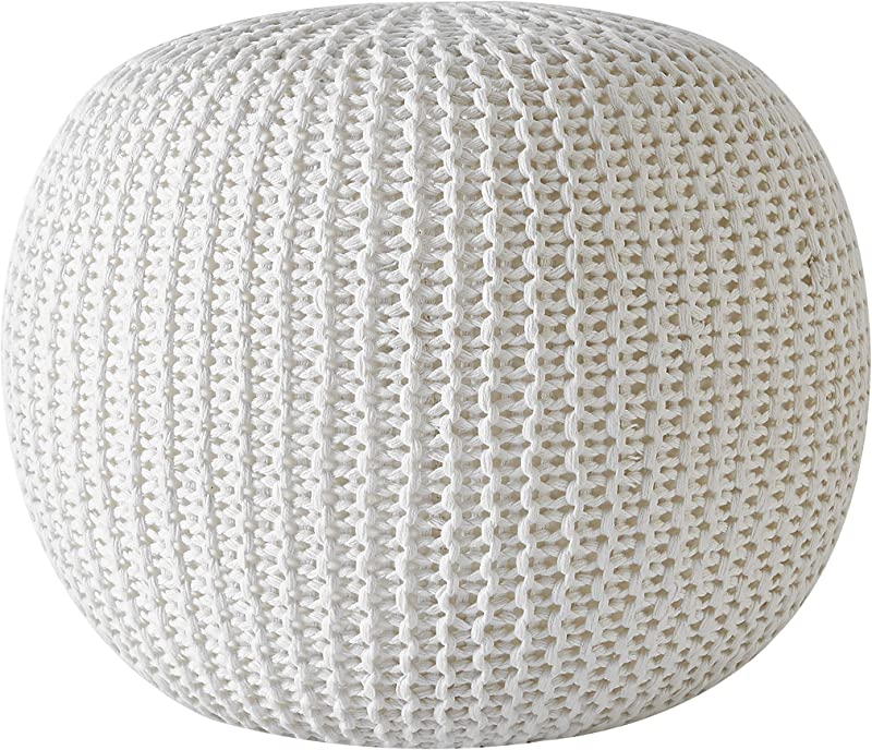 Urban Shop Round Knit Pouf Hand Woven Cotton Ivory