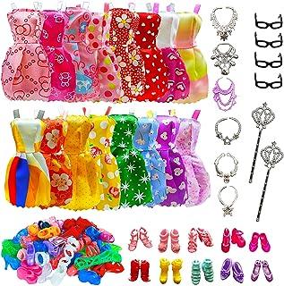 32 PCS Doll Accessories, 10x Mix Cute Dresses, 10x Shoes, 4x Glasses, 6x Necklaces, 2x Fairy Sticks Dress Clothes For Barb...