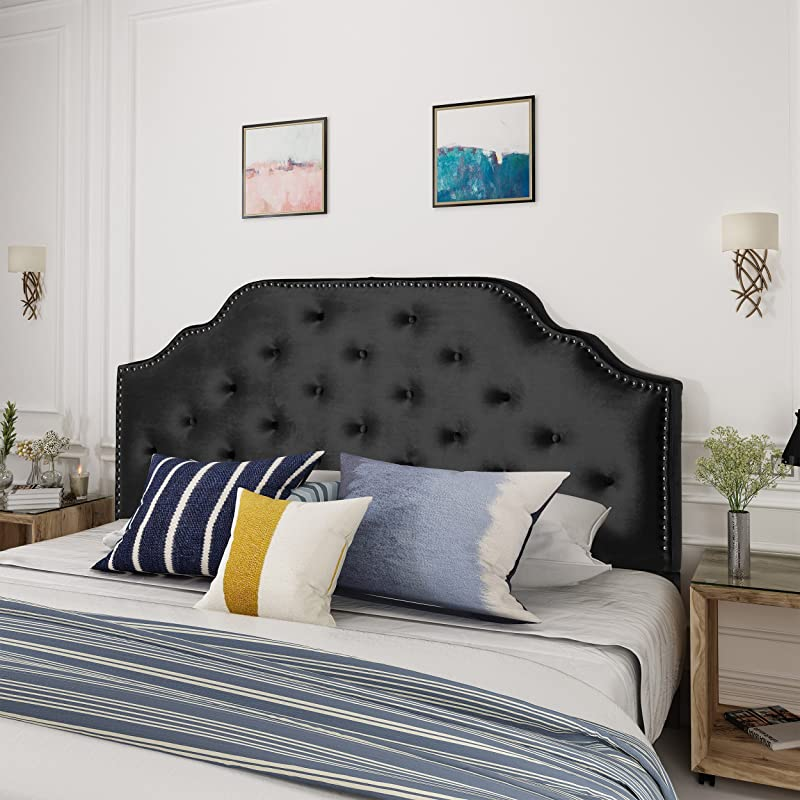 Christopher Knight Home 303588 Silas Velvet Full Queen Headboard Black