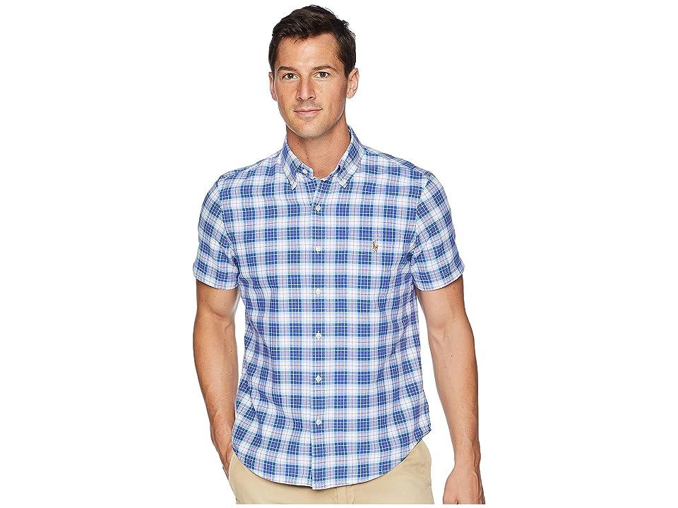 Polo Ralph Lauren Button Down Short Sleeve Sport Shirt (Blue/Salmon Multi) Men